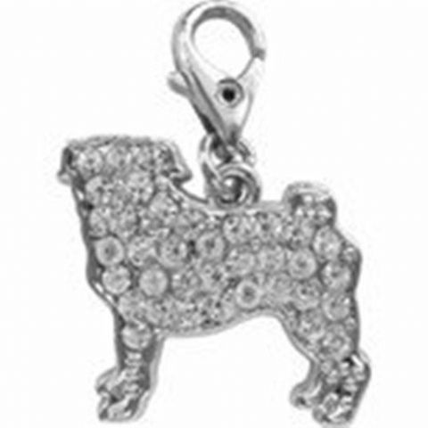 PUG AUSTRIAN CRYSTAL CHARM FOR BAGS PHONES JEWELLERY